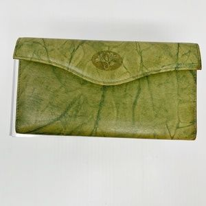 Buxton Green Leather Wallet Checkbook Coins Cards